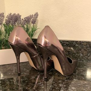 Patent Pewter Pointed Toe Heels